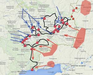 карта боев России с Украиной на 28 08 2014